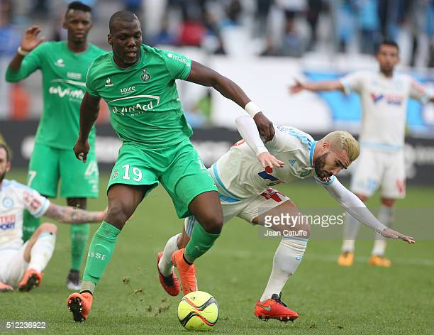 Florentin Pogba of SaintEtienne and Romain Alessandrini of OM in action during the French Ligue 1 match between Olympique de Marseille and AS...