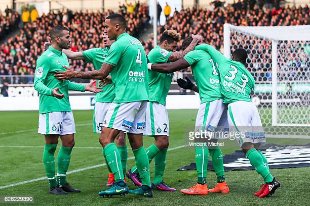 Florentin Pogba of SaintEtienne jubilates with teammates after scoring the 11 draw during the French Ligue 1 match between Angers and Saint Etienne...