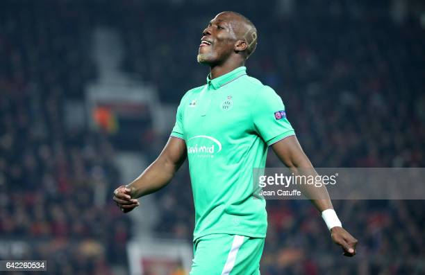 Florentin Pogba of SaintEtienne looks on during the UEFA Europa League Round of 32 first leg match between Manchester United and AS SaintEtienne at...