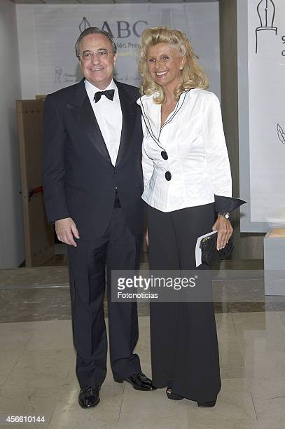 Florentino Perez and Isabel Tocino attend a dinner in honour of the 'Mariano de Cavia' 'Luca de Tena' and 'Mingote' awards winners at Casa de ABC on...