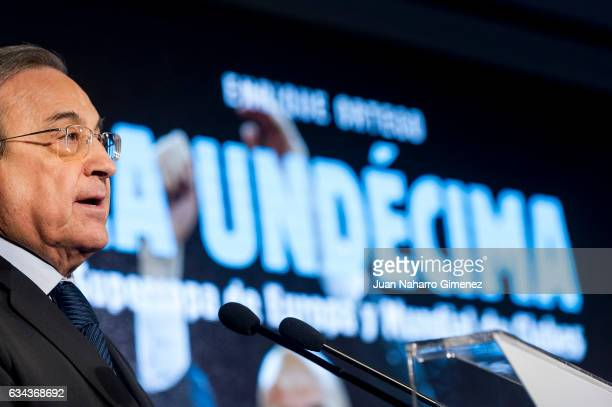 Florentino Perez attends 'La Undecima Supercopa de Europa y Mundial de Clubes' book presentation at Estadio Santiago Bernabeu on February 9 2017 in...