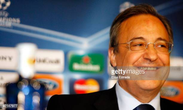 Florentino Perez gives a press conference before the Champions League match between Real Madrid and Milan at Santiago Bernabeu on October 21 2009 in...