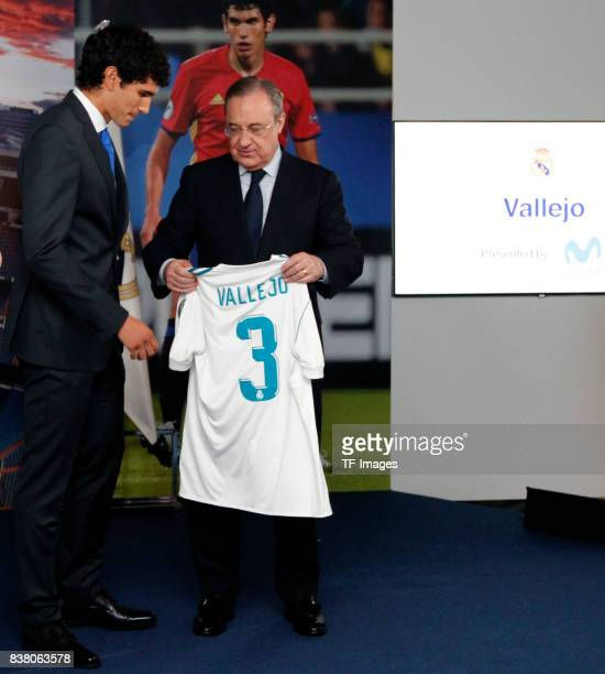 Florentino Perez of Real Madrid and Jesus Vallejo of Real Madrid is presented at Bernabeu stadium on July 7 2017 in Madrid Spain