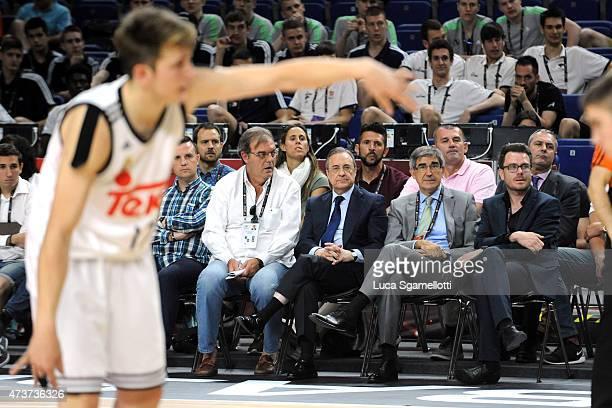 Florentino Perez President of Real Madrid and Jordi Bertomeu attend the Adidas Next Generation Tournament Final Game between Real Madrid vs Crvena...