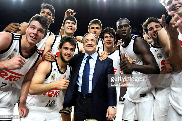 Florentino Perez President of Real Madrid celebrates with Real Madrid Team in action during the Adidas Next Generation Tournament Final Game between...