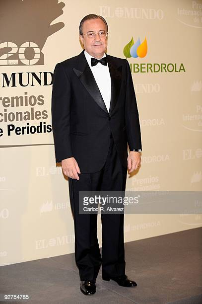 Florentino Perez president of the Real Madrid football club attends the ''El Mundo'' newspaper's 20th anniversary dinner at the Palace Hotel on...