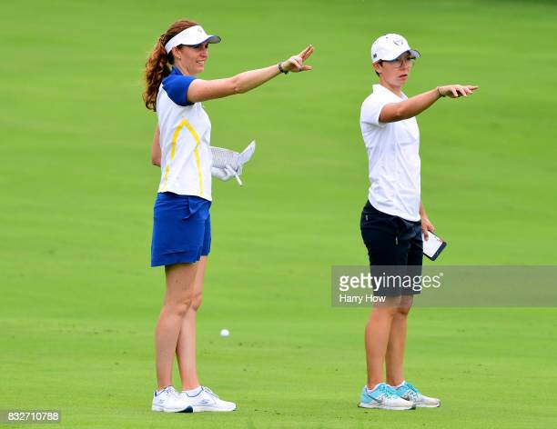 Florentyna Parker and AnnKathrin Lindner of Team Europe line up a second shot on the 18th fairway during practice for the Solheim Cup at the Des...