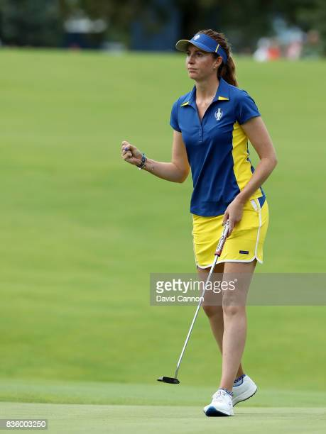 Florentyna Parker of England and the European team in action against Gerina Piller of the United States team during the final day singles matches in...
