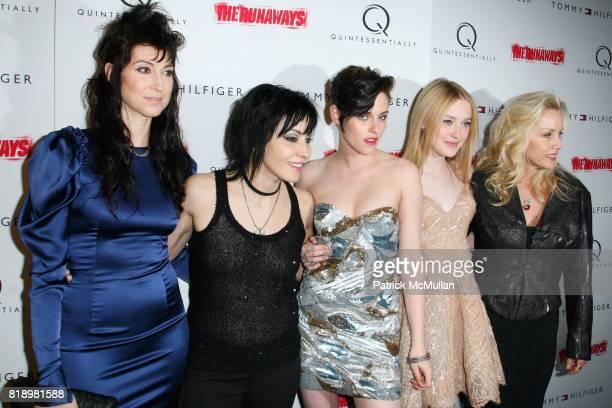 Floria Sigismondi Joan Jett Kristen Stewart Dakota Fanning and Cherie Currie attend New York Premiere Screening of 'THE RUNAWAYS' at Landmark...