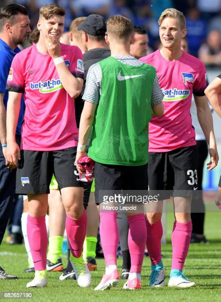 Florian Baak Maximilian Mittelstaedt and Arne Maier of Hertha BSC after the game between SV Darmstadt 98 and Hertha BSC on may 13 2017 in Darmstadt...