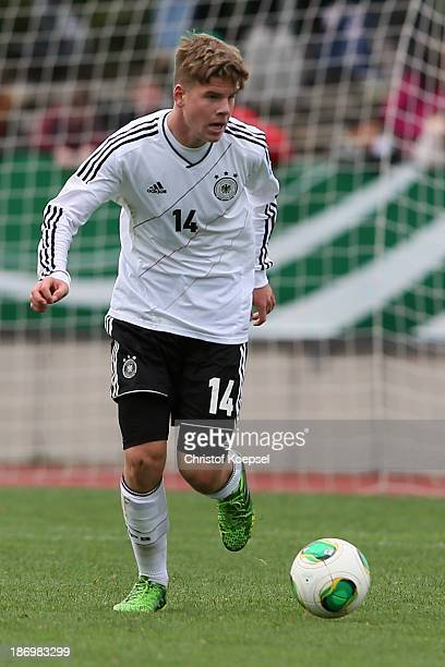 Florian Baak of Germany runs with the ball during the U15 international friendly match between Germany and South Korea at Jahnstadion on November 5...