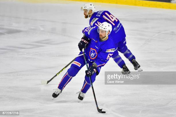 Florian Chakiachvili of France and Stephane Da Costa of France during the EIHF Ice Hockey Four Nations tournament match between France and Slovenia...