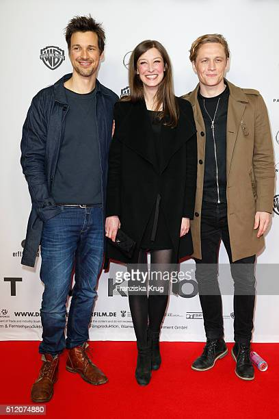 Florian David Fitz Alexandra Maria Lara and Matthias Schweighoefer attend the 'Der geilste Tag' Premiere at Zoo Palast on February 24 2016 in Berlin...