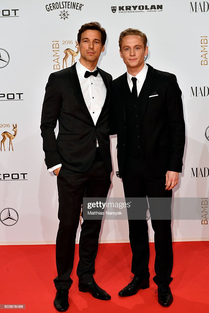 Florian David Fitz and Matthias Schweighoefer arrive at the Bambi Awards 2016 at Stage Theater on November 17, 2016 in Berlin, Germany.