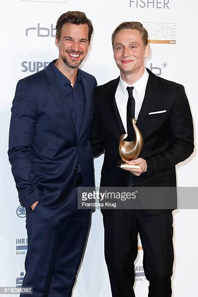 Florian David Fitz and Matthias Schweighoefer attend the Goldene Henne on October 28 2016 in Leipzig Germany