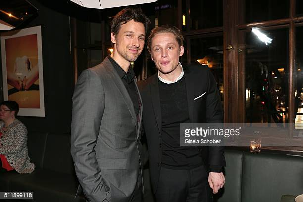 Florian David Fitz and Matthias Schweighoefer during the German premiere of the film 'Der geilste Tag' after party at 'heart' club on February 23...