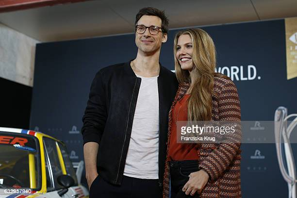 Florian David Fitz and Viviane Geppert attend the Rodenstock Exhibition Opening Event at Museum of Urban and Contemporary Art in Munich on January 28...