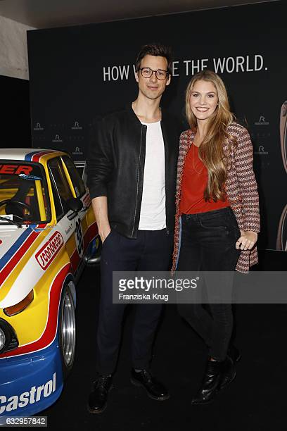 Florian David Fitz and Viviane Geppert attends the Rodenstock Exhibition Opening Event at Museum of Urban and Contemporary Art in Munich on January...