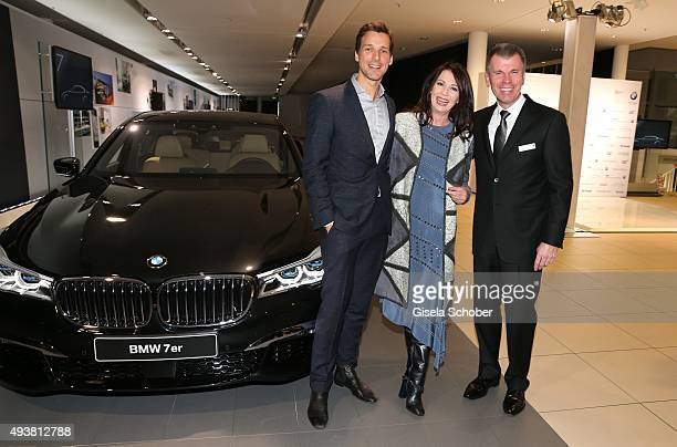 Florian David Fitz Iris Berben and host Peter Mey Director Niederlassung Muenchen during the presentation of the new BMW 7 Series on October 22 2015...