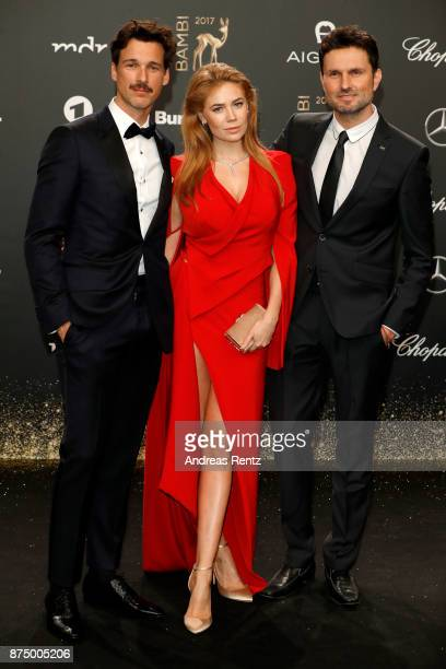 Florian David Fitz Palina Rojinski and Simon Verhoeven arrive at the Bambi Awards 2017 at Stage Theater on November 16 2017 in Berlin Germany