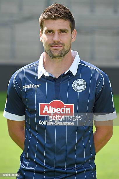 Florian Dick poses during the Second Bundesliga team presentation of Arminia Bielefeld at Schueco Arena on July 16 2015 in Bielefeld Germany