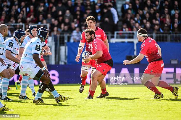 Florian Fresia of Toulon during the European Rugby Champions Cup Quarter Final between Racing 92 v RC Toulon at Stade Yves Du Manoir on April 10 2016...