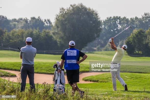 Florian Fritsch of Germany and Lucas Bjerregaard of Denmark are seen during day two of the Saltire Energy Paul Lawrie Matchplay at Golf Resort Bad...