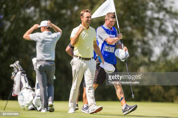 Florian Fritsch of Germany celebrates during the Saltire Energy Paul Lawrie Matchplay at Golf Resort Bad Griesbach on August 18 2017 in Passau Germany