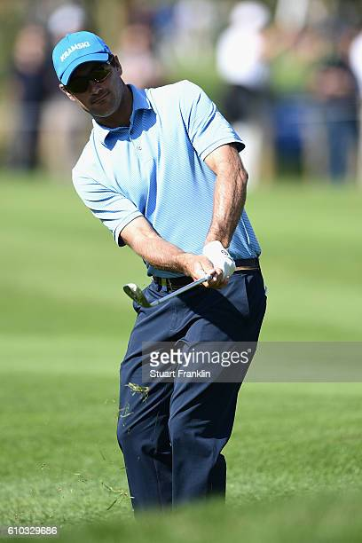 Florian Fritsch of Germany chips onto the green during the final round of the Porsche European Open at Golf Resort Bad Griesbach on September 25 2016...