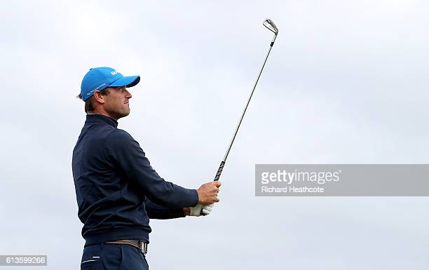 Florian Fritsch of Germany drives off the 12th tee during the final round of the Alfred Dunhill Links Championship at The Old Course on October 9...
