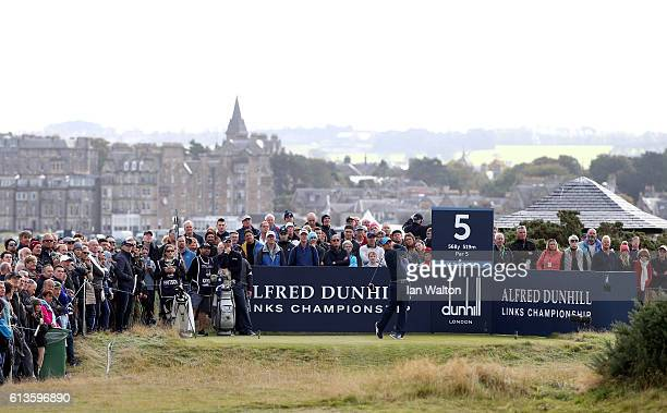 Florian Fritsch of Germany drives off the fifth tee during the final round of the Alfred Dunhill Links Championship at The Old Course on October 9...