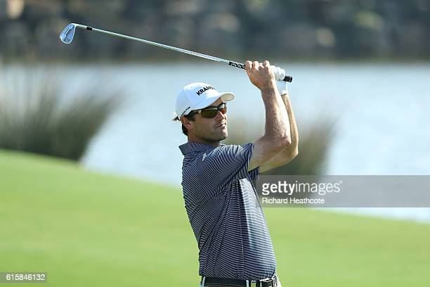 Florian Fritsch of Germany hits his second shot on the 18th hole during day one of the Portugal Masters at Victoria Clube de Golfe on October 20 2016...