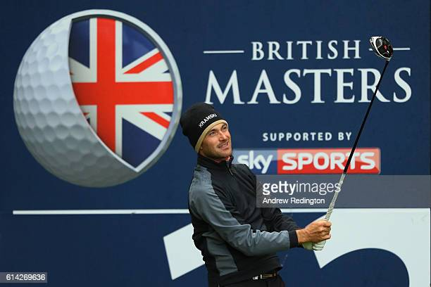 Florian Fritsch of Germany hits his tee shot on the 12th hole during the first round of the British Masters at The Grove on October 13 2016 in...