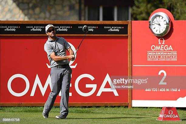 Florian Fritsch of Germany hits his tee shot on the second hole during the third round of the Omega European Masters at CranssurSierre Golf Club on...