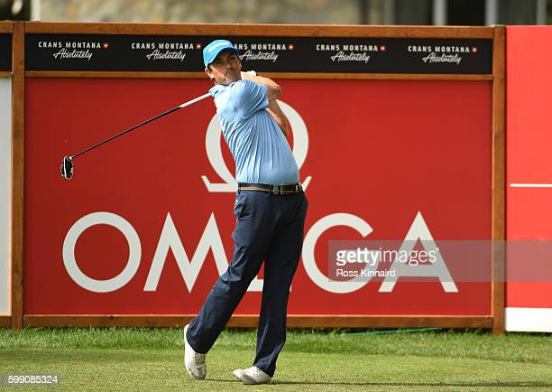 Florian Fritsch of Germany hits his tee shot on the second hole during the final round of the Omega European Masters at CranssurSierre Golf Club on...