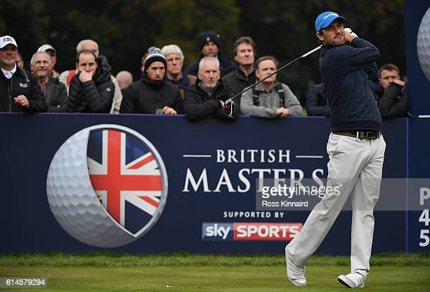 Florian Fritsch of Germany hits his tee shot on the second hole during the second round of the British Masters at The Grove on October 14 2016 in...