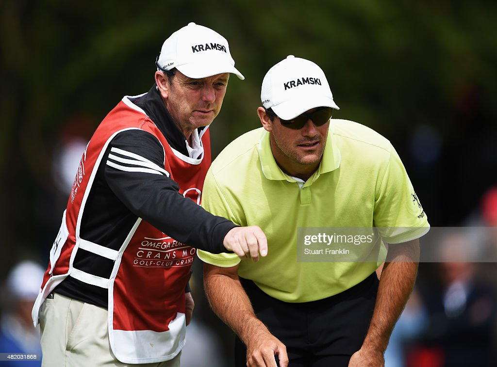 Florian Fritsch of Germany lines up a putt during the final round of the Omega European Masters at CranssurSierre Golf Club on July 26 2015 in...