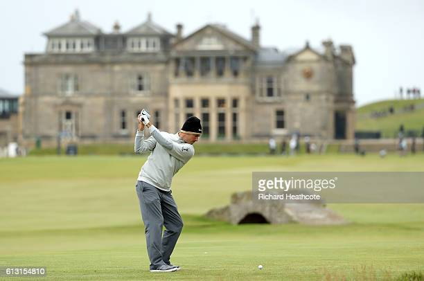 Florian Fritsch of Germany plays a driver off the 18th tee during the second round of the Alfred Dunhill Links Championship at The Old Course on...