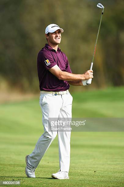 Florian Fritsch of Germany plays a shot during the second round of the Porsche European Open at Golf Resort Bad Griesbach on September 25 2015 in...