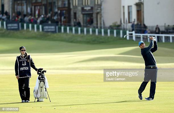 Florian Fritsch of Germany plays his second shot to the first hole during the final round of the Alfred Dunhill Links Championship at The Old Course...