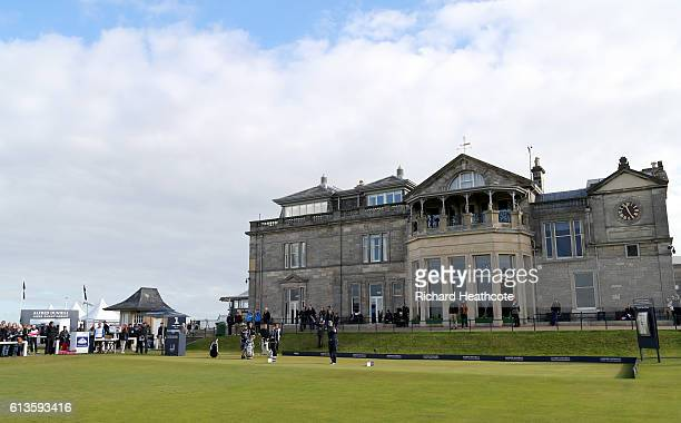 Florian Fritsch of Germany plays off the first tee during the final round of the Alfred Dunhill Links Championship at The Old Course on October 9...