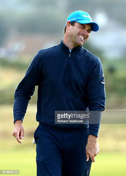 Florian Fritsch of Germany reacts after missing birdie putt on the eighth green during the final round of the Alfred Dunhill Links Championship at...