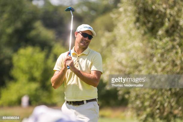 Florian Fritsch of Germany reacts during the Saltire Energy Paul Lawrie Matchplay at Golf Resort Bad Griesbach on August 18 2017 in Passau Germany