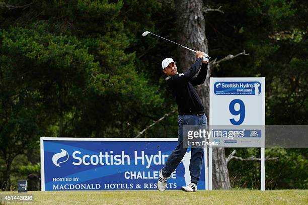 Florian Fritsch of Germany tees off at the ninth on day four of the 2014 Scottish Hydro Challenge hosted by Macdonald Hotels Resorts at Spey Valley...