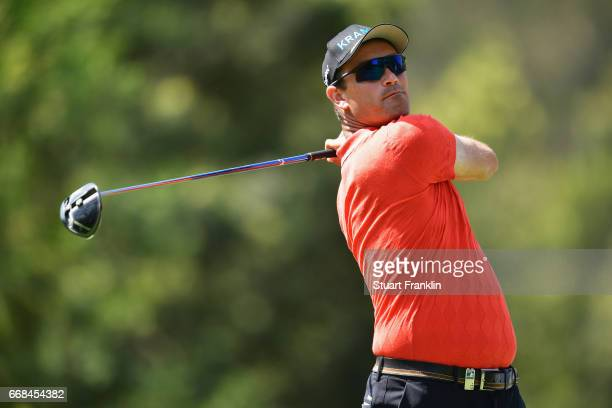 Florian Fritsch of Germany tees off during day 2 of the Trophee Hassan II at Royal Golf Dar Es Salam on April 14 2017 in Rabat Morocco