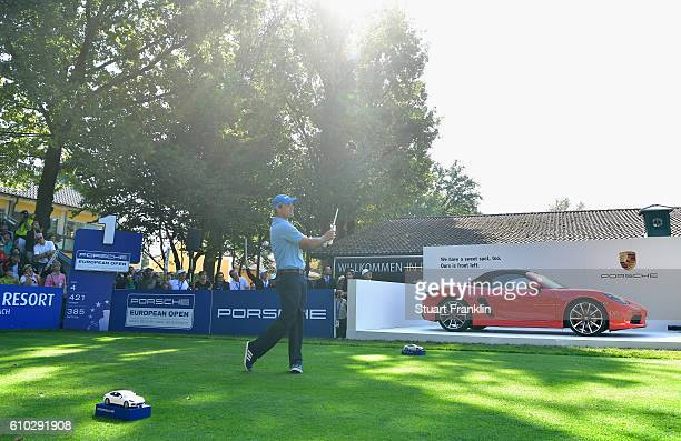 Florian Fritsch of Germany tees off during the final round of the Porsche European Open at Golf Resort Bad Griesbach on September 25 2016 in Passau...