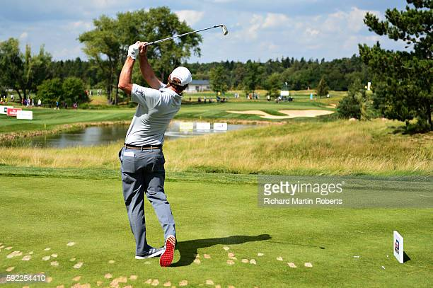 Florian Fritsch of Germany tees off on 7th hole during day three of the DD REAL Czech Masters at Albatross Golf Resort at Albatross Golf Resort on...