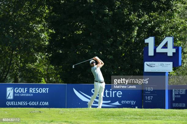 Florian Fritsch of Germany tees off on the 14th hole during round one of the Saltire Energy Paul Lawrie Matchplay at Golf Resort Bad Griesbach on...