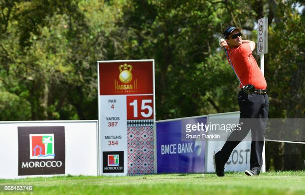 Florian Fritsch of Germany tees off on the 15th hole during day 2 of the Trophee Hassan II at Royal Golf Dar Es Salam on April 14 2017 in Rabat...