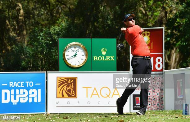 Florian Fritsch of Germany tees off on the 18th hole during day 2 of the Trophee Hassan II at Royal Golf Dar Es Salam on April 14 2017 in Rabat...